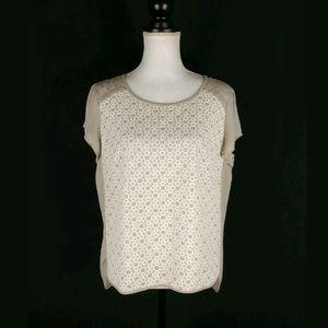 Lauren Conrad lace crochet front sheer back top